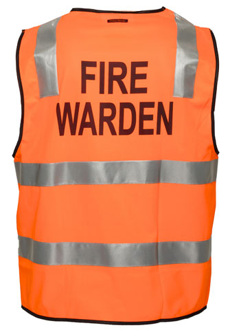 Vest - Polyester FIRE WARDEN Print Prime Mover Zip Front HIVIS D/N c/w Tape