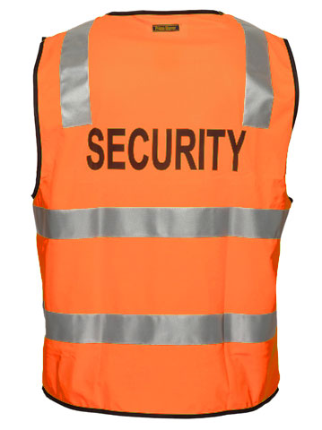 Vest - Polyester SECURITY Print Prime Mover Zip Front HIVIS D/N c/w Tape