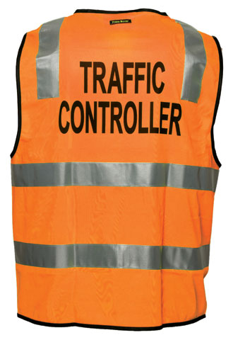 Vest - Polyester TRAFFIC CONTROLLER Print Prime Mover Zip Front HIVIS D/N c/w Tape
