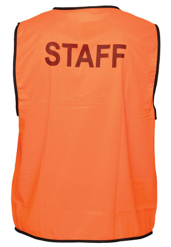 Vest - Polyester STAFF Print Prime Mover Velcro Front HIVIS D
