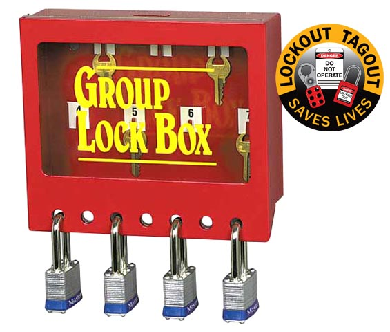 Lock Box - Wallmount Metal Group Lock Out Red - 7 Hole