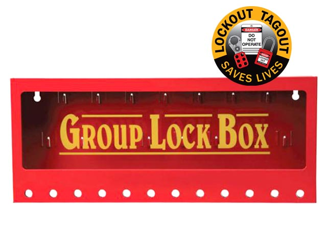 Lock Box - Wallmount Metal Group Lock Out Red - 12 Hole