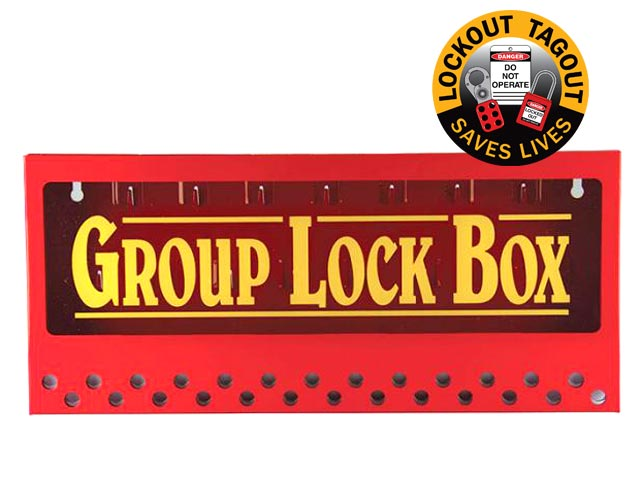Lock Box - Wallmount Metal Group Lock Out Red - 26 Hole