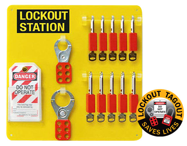 Lockout - Station 10 Lock Board c/w Safety Padlocks/Hasps & Tags