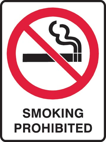 Sign - Metal Prohibition ' Smoking Prohibited' 450 x 600