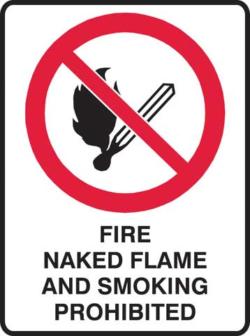 Sign - Metal Prohibition 'Fire Naked Flame & Smoking Prohibited' 450 x 600