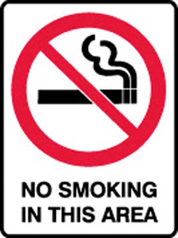 Sign - Metal Prohibition 'No Smoking In This Area' 450 x 600