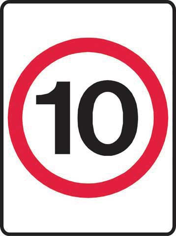 Sign - Metal '10KM' Speed Sign 450 x 600