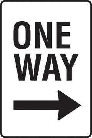 Sign - Metal 'One Way' Right Arrow 450 x 600