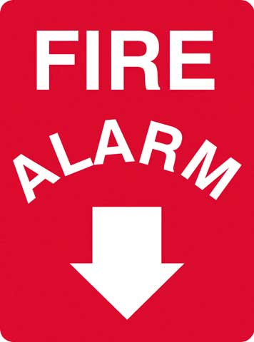 Sign - Metal 'Fire Alarm' White on Red with Arrow 600mm x 450mm