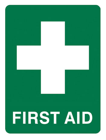 Sign - Poly 'First Aid' White Cross 450 x 600