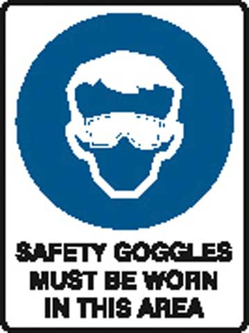 Sign - Poly 'Safety Goggles Must Be Worn In This Area' 450 x 600