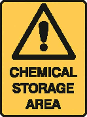 Sign - Poly Warning 'Chemical Storage Area' 450 x 600