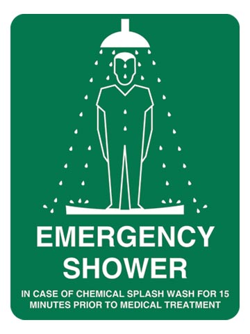 Sign - Poly 'Emergency Shower' 450 x 600