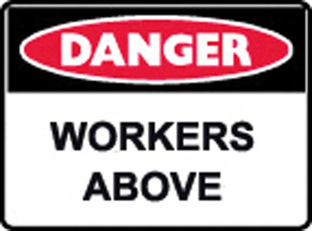 Sign - Poly Danger 'Workers Above' 600 x 450