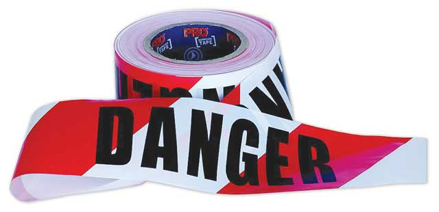 Tape - Barrier Hazard ProChoice 75mm x 100M Red/White Diagonal Printed DANGER