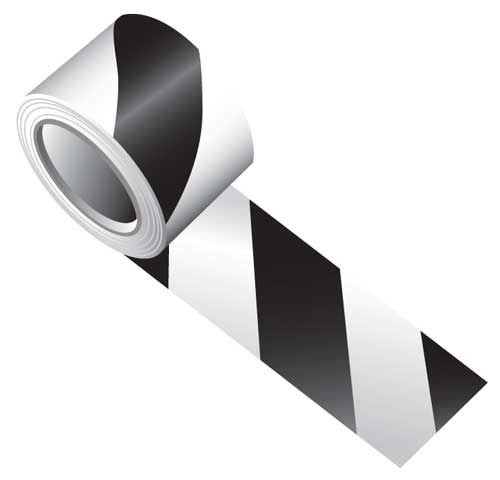 Tape - Vinyl Indoor Warning Non Reflective 75mm x 16.4M - Black/White Stripe