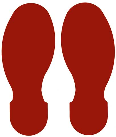 Tape Foot Prints - Polyester Indoor Floor Marking Toughstripe 254mm x 89mm 5 L/R - Red