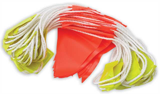 Bunting - PVC HI VIS Orange Triangle c/w Reflective Tabs 30M Rope (45Flags/