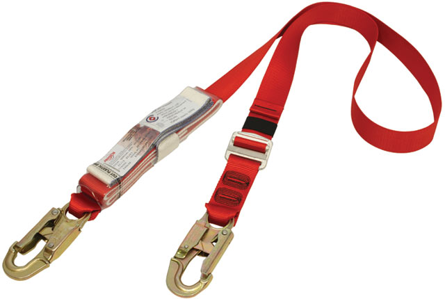 Lanyard - Protecta Shock Absorbing Single Tail Adjustable Web Lanyard 0.75M-2.0M c/w 2 Snap Hooks