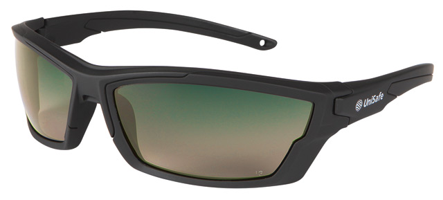 Spectacle - Mirror Green Unisafe Bark Hut MI Safety HC Lens