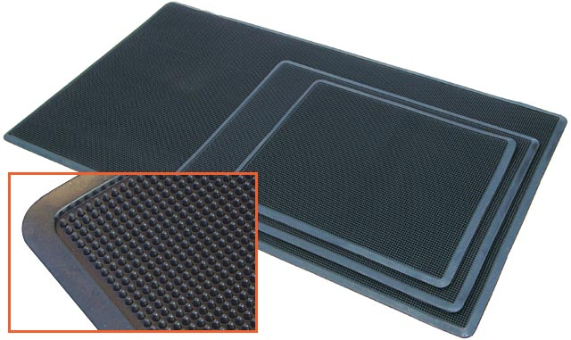 Mat - matTEK Rubber Brush Scraper Entrance Mat 710mm x 1070mm - Black