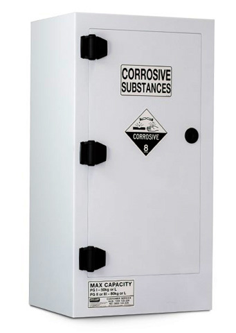 Cabinet - Corrosive Substance Storage Poly Pratt 1 Door/2 Shelf Black - 80L
