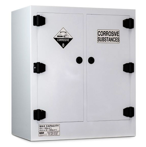 Cabinet - Corrosive Substance Storage Poly Pratt 2 Door/4 Shelf Black - 160L