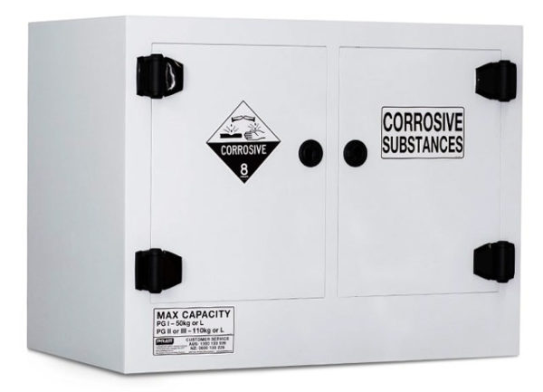 Cabinet - Corrosive Substance Storage Poly Pratt 2 Door/2 Shelf Black - 110L