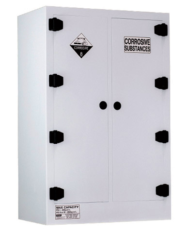 Cabinet - Corrosive Substance Storage Poly Pratt 2 Door/6 Shelf Black - 250L