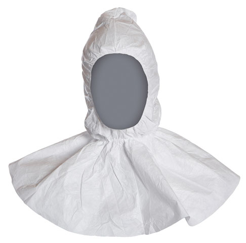 Hood - Disposable Tyvek e c/w Flange & Elasticated Face/Neck White - One Size