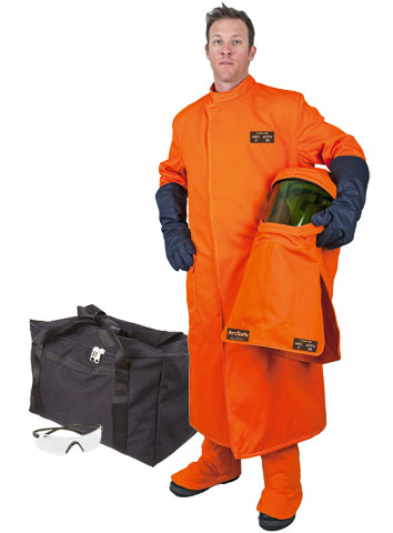Coat & Leggings Kit - Arc Flash Protective HRC4 c/w ArcSafe T40 Coat/Leggings/Hood/Gloves/Glasses/Bag Orange - 3XL