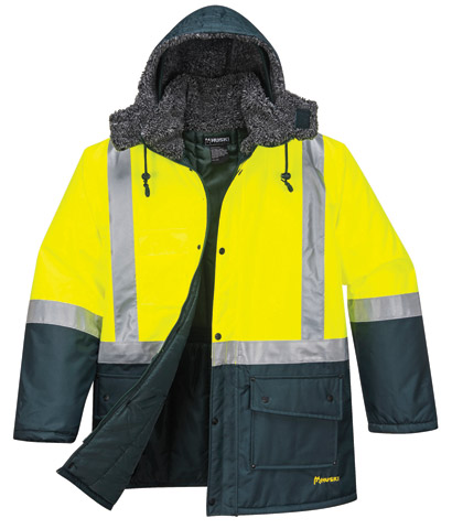 Jacket - Freezer Huski K8044 PU Coated Nylon 2Tone HI VIS c/w Tape Yellow/Green Fluro - 5XL