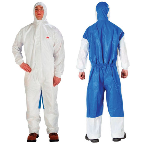 Overall - Disposable Anti-Static Laminate 3M 4535 Dust/Splash Type 5/6 Zip Front c/w Hood White/Blue - M