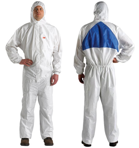Overall - Disposable Anti-Static Laminate 3M 4540+ Dust/Splash Type 5/6 Zip Front c/w Hood White/Blue - 2XL