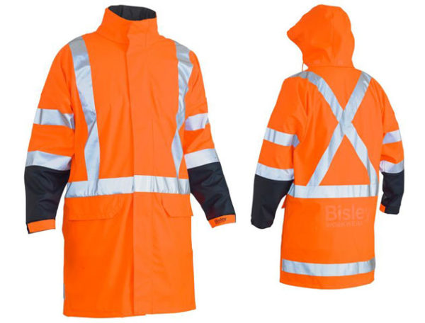 Rain Coat - Stretch PU Bisley BJ6955XT Waterproof HI VIS D/N c/w Hood & X Tape Back Orange - 6XL