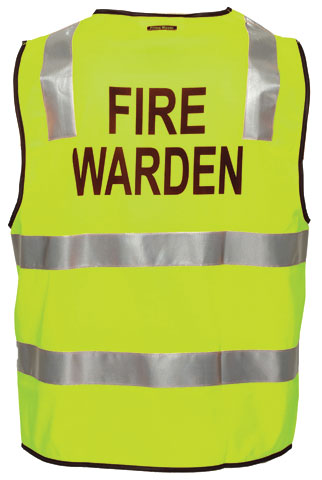 Vest - Polyester FIRE WARDEN Print Prime Mover Zip Front Taped HI VIS D/N Yellow - 5XL