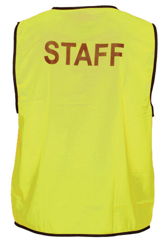 Vest - Polyester STAFF Print Prime Mover Velcro Front HIVIS D Yellow - 5XL