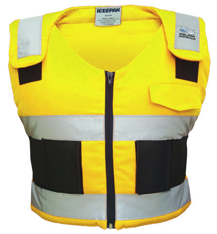 Ice Vest - Body Cooling ICEEPAK Cotton Drill c/w 4 Cryopak Inserts HI VIS Yellow c/w Reflective Tape- XLarge  Size (>120KG)