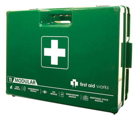 First Aid Kit - T3 First Aid Works Modular Hard Case c/w 5 Modules 420 x 320 x 150mm
