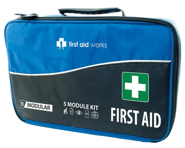 First Aid Kit - T3 First Aid Works Modular Soft Case c/w 5 Modules
