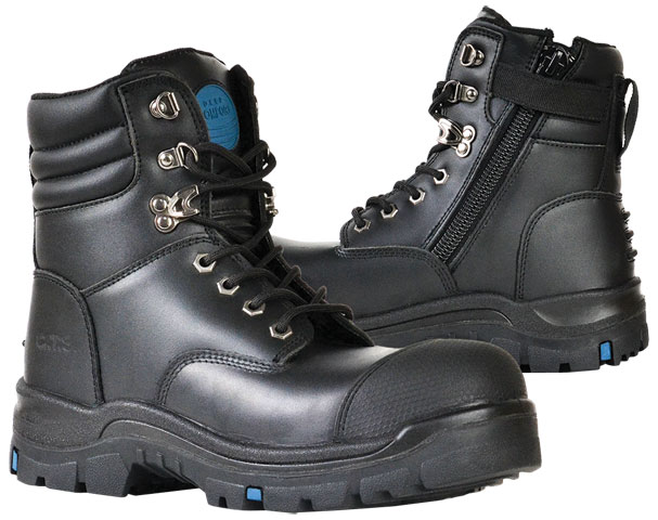 Boot - Safety Mens Bata Patriot 815-60647 Lace/Zip Sided PU/Rubber Sole c/w Scuff Cap Black - 14