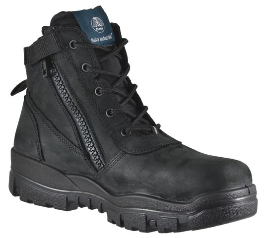 > Boot - (NLA) Safety Mens Bata Helix Horizon 755-63963 Zip/Lace Up PU/Rubber Sole Black - 14