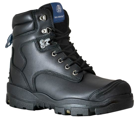 "Boot - Safety Mens Bata Helix Longreach 705-63979 Lace Up 6"" PU/Rubber Sole c/w Scuff Cap Black - 14"