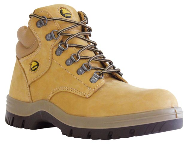 Boot - Safety Mens Bata Titan 706-80510 Mid Cut Lace Up Padded Collar DD PU Sole Nubuck Wheat - 13