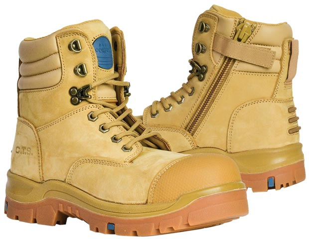 Boot - Safety Mens Bata Patriot 815-80647 Zip Lace Up PU/Rubber Sole c/w Scuff Cap Nubuck Wheat - 14