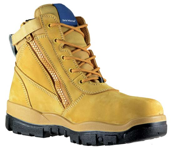 Boot - Safety Mens Bata Helix Horizon (REFER TO FB83964 FOR CORRECT CODE) Zip/Lace Up PU/Rubber Sole c/w Scuff Cap Nubuck Wheat - 14