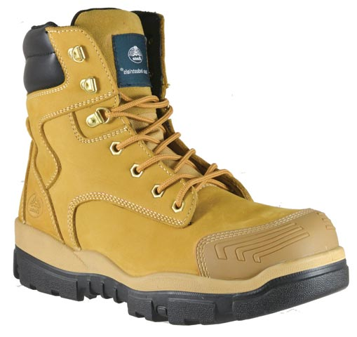 "Boot - Safety Mens  Bata Helix Longreach SC 706-83968 Lace Up 6"" PU/TPU Sole c/w Scuff Cap Nubuck Wheat - 14"