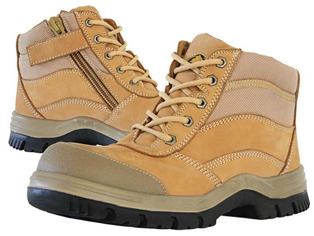 Boot - Safety Mens Bata Zippy 804-88841 Ankle Zip Lace Up DD PU Sole c/w Scuff Cap Nubuck Wheat - 13