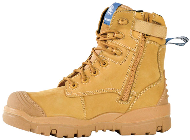 Boot - Safety Mens Bata Helix Longreach ST - NA (REFER PRODUCT CODE FB86147 FOR NEAREST EQUIVALENT) 706-89544 Zip Lace Up PU/Rubber Sole c/w Steel Toe & Scuff Cap Wheat - 14